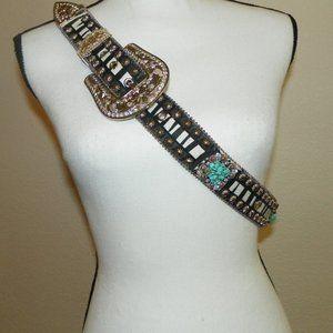 """Western Black White Leather Turquoise Belt 40"""" Lg"""